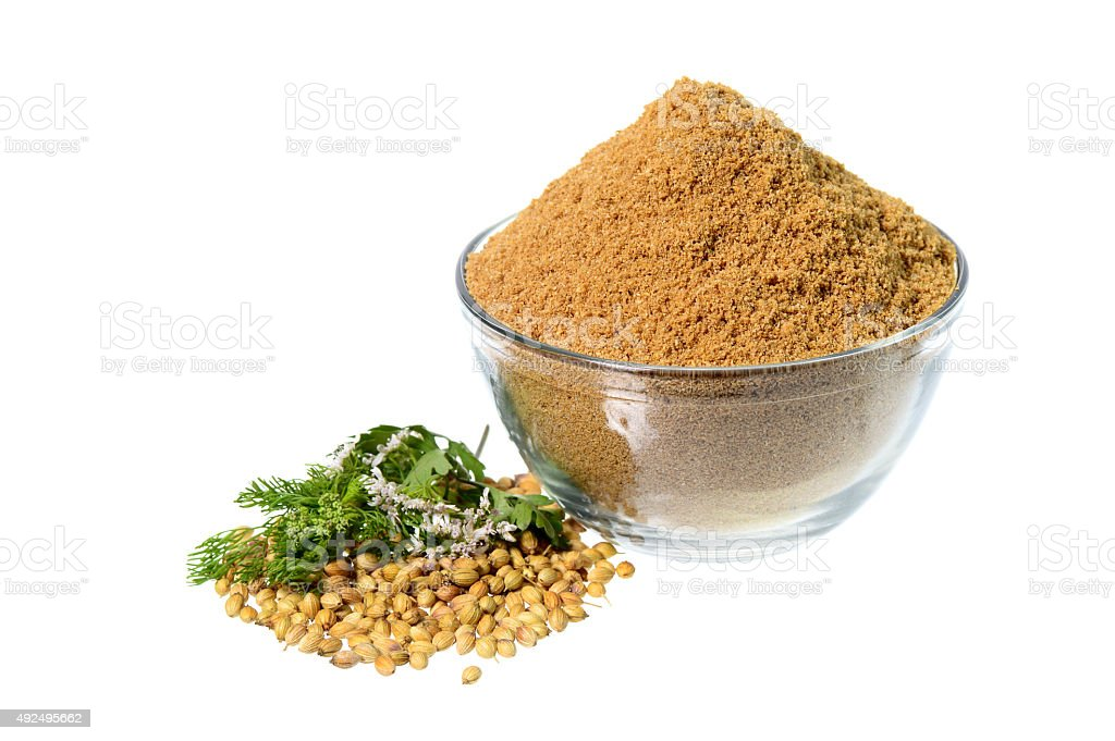 Coriander seeds, Fresh Coriander and Powdered coriander stock photo