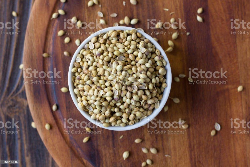 Coriander seeds spice stock photo