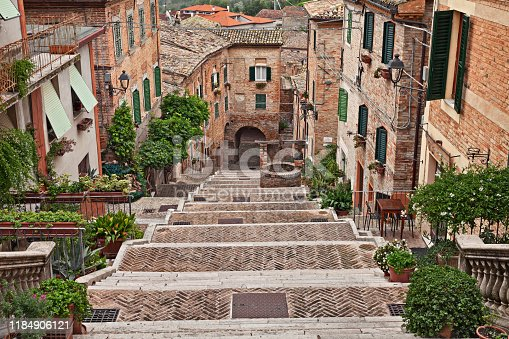 Corinaldo, Ancona, Marche, Italy: the long staircase in the downtown of the beautiful ancient italian village