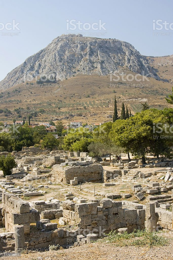 corinth ancient ruins royalty-free stock photo