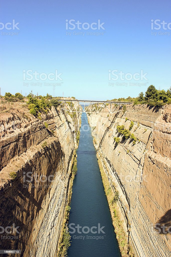 Corinth Canal - high angle view (vertical) royalty-free stock photo