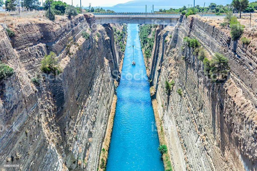 Corinth Canal in Greece on a summer day royalty-free stock photo