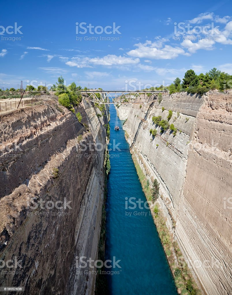 Corinth Canal in Greece on a summer day stock photo