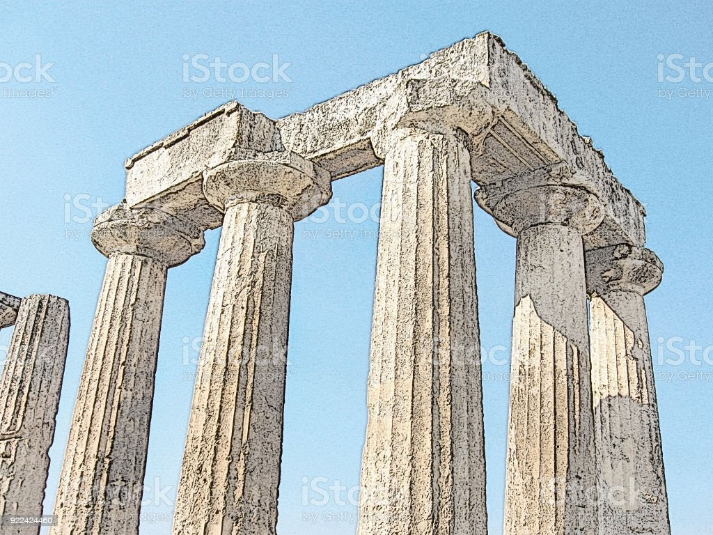 Corinth, Greece. Doric columns of an ancient Greek Temple of Apollo. An interesting antique cultural, architectural monument. Colored digital drawing, picture imitation stock photo