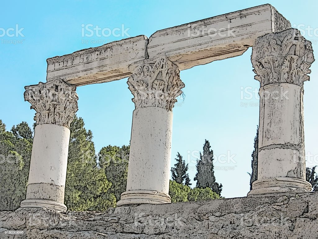 Corinth, Greece. Three columns of Corinthian order against the bright blue sky. Ruined building of an ancient greek city, famous historical and cultural landmark and a place of interest. Colored digital drawing stylization stock photo