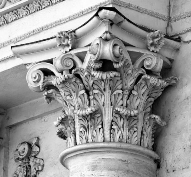 style corinthien capital - chapiteau colonne architecturale photos et images de collection