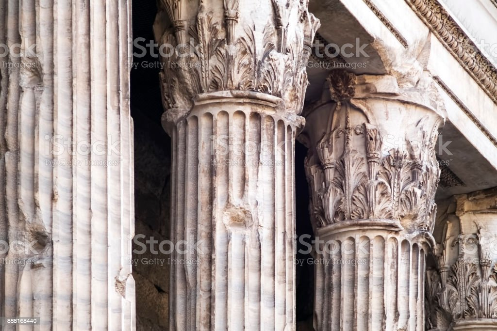Corinthian columns of the ancient Adriano's temple stock photo
