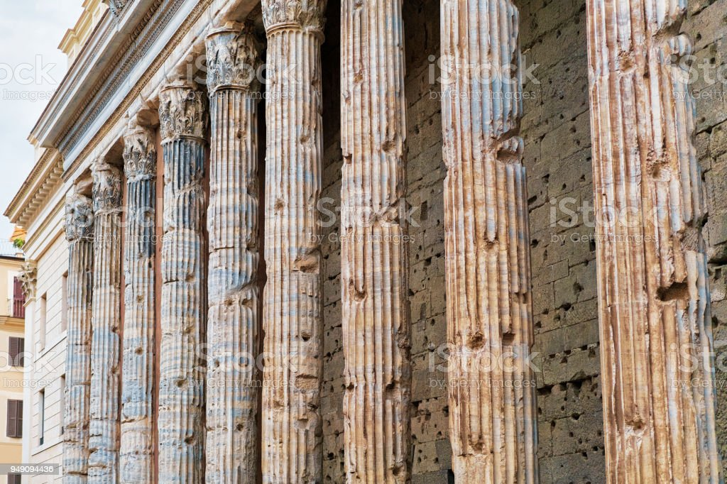 Corinthian Granite Columns of Pantheon Rome stock photo