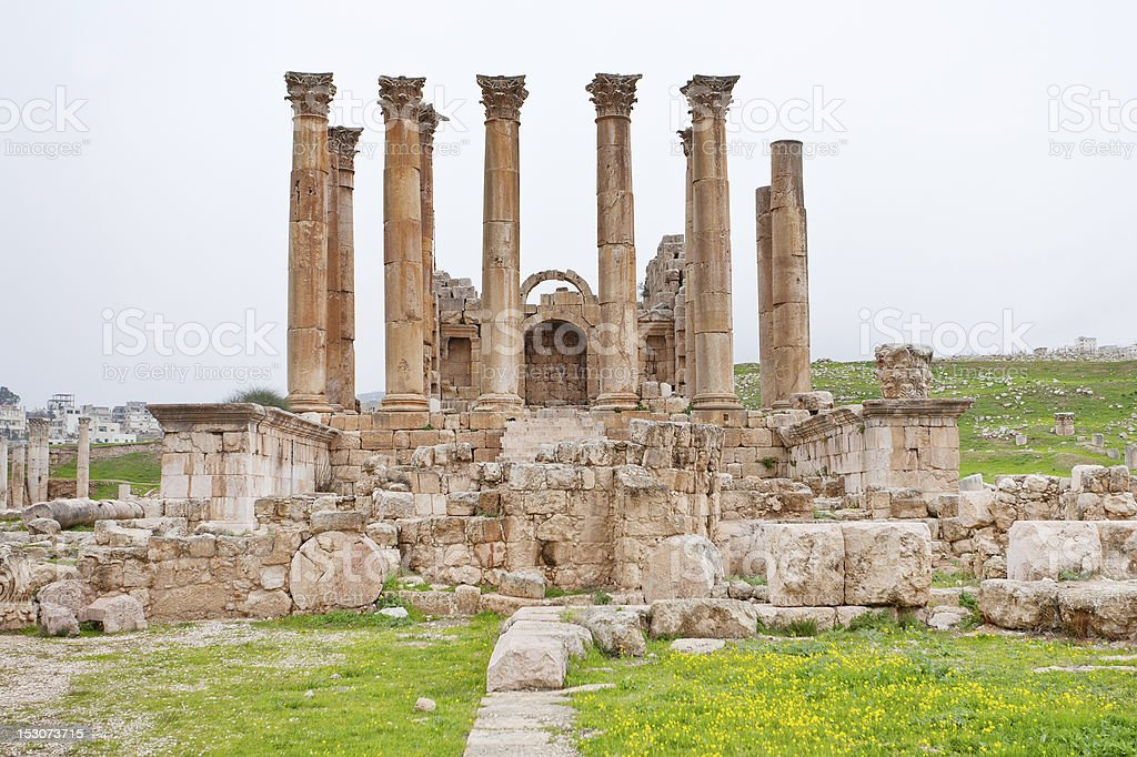 Corinthium colonnade of Artemis temple in ancient town Jerash royalty-free stock photo