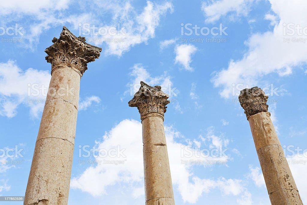 Corinthium column in antique town Jerash stock photo