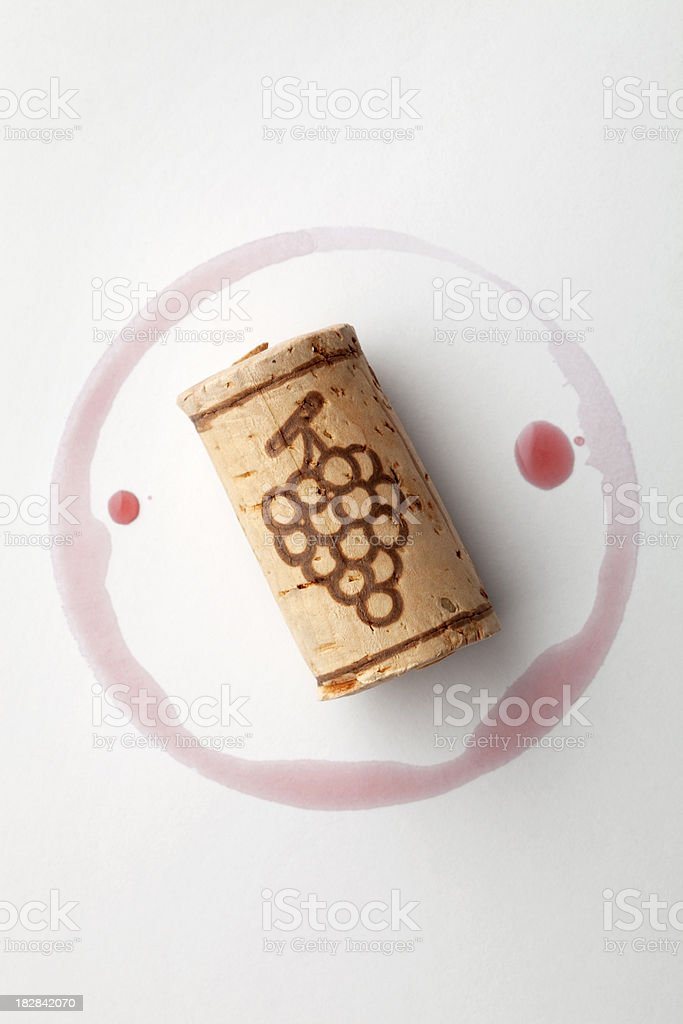 Cork and red wine stain royalty-free stock photo
