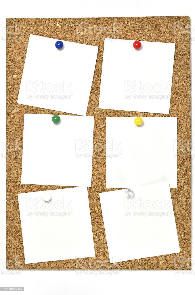 Cork board and blank notes. royalty-free stock photo