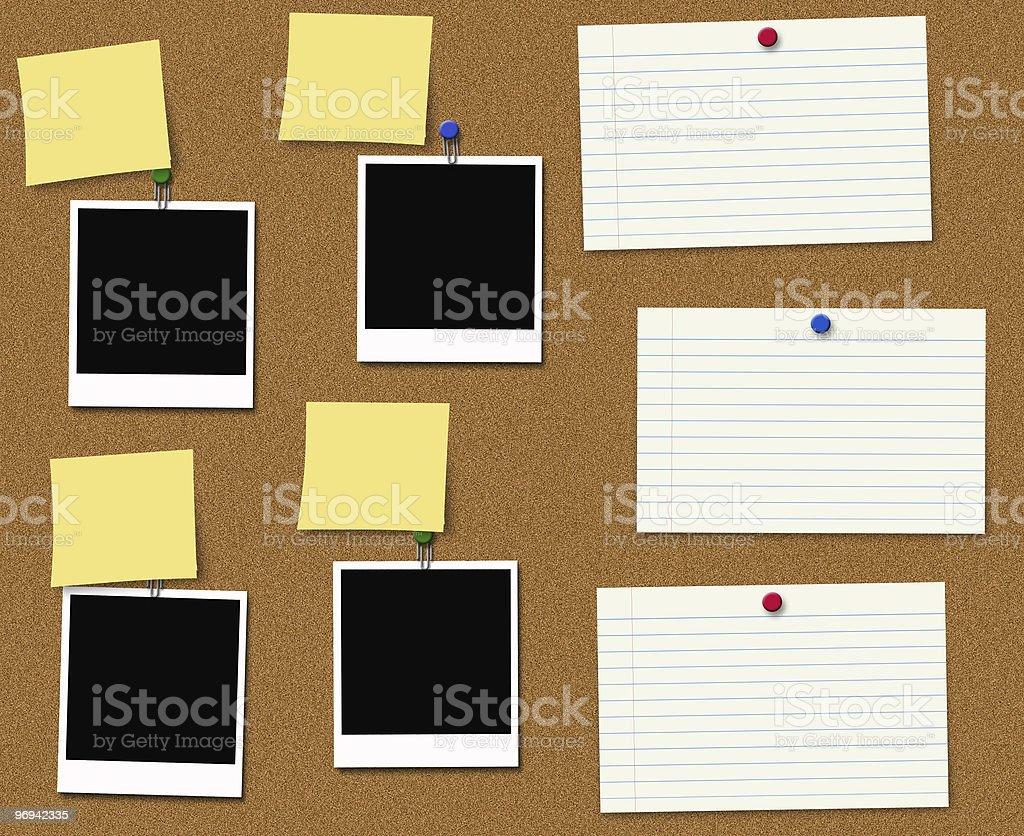Cork Board and Photos royalty-free stock photo