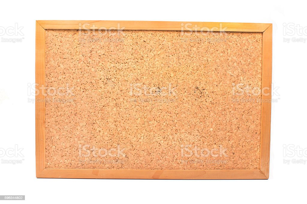Cork board in wooden frame isolated on white royalty-free stock photo