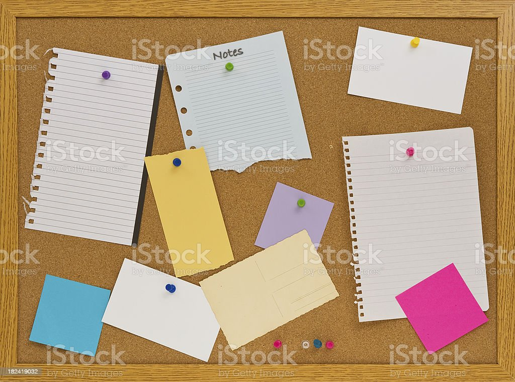 Cork Board with Pinned Blank Notes royalty-free stock photo