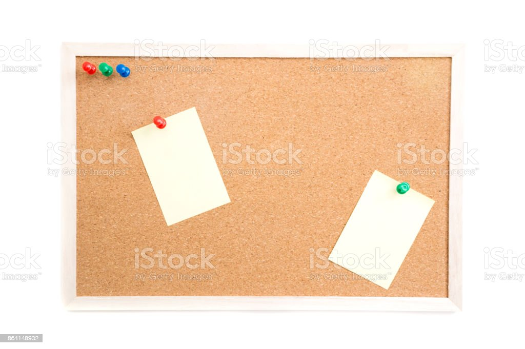 Cork board with post it and push pins and wooden frame on white background with clipping path royalty-free stock photo