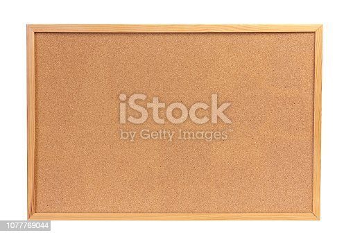Isolated cork board with wooden frame