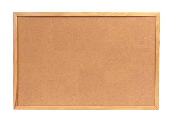 Cork board with wooden frame stock photo