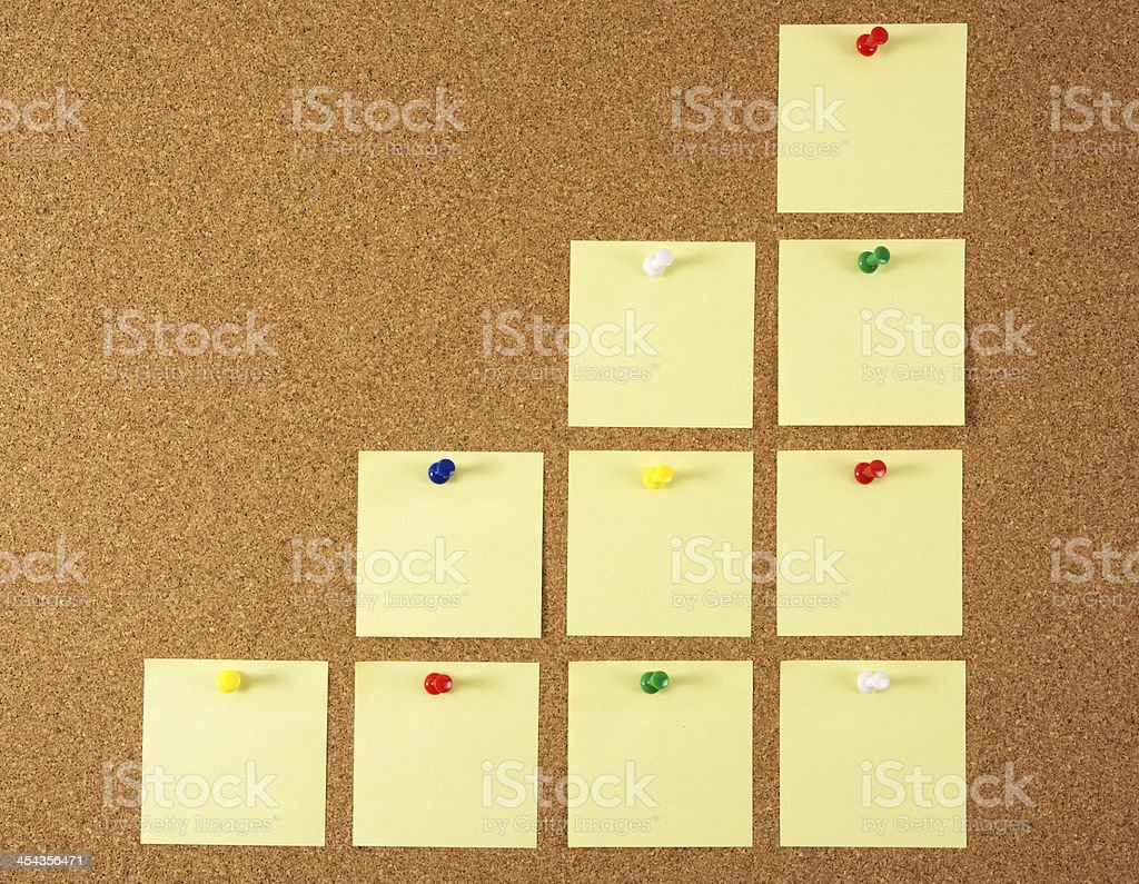 Cork board with yellow sticky note (progress) royalty-free stock photo