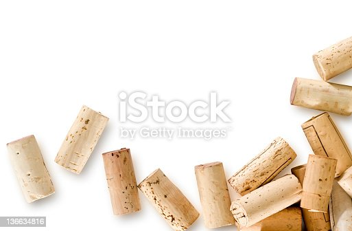 Real corks, as opposed to compressed corks are used. Corks have a clipping path to separate from shadows if desired. Shot on full frame Nikon D3