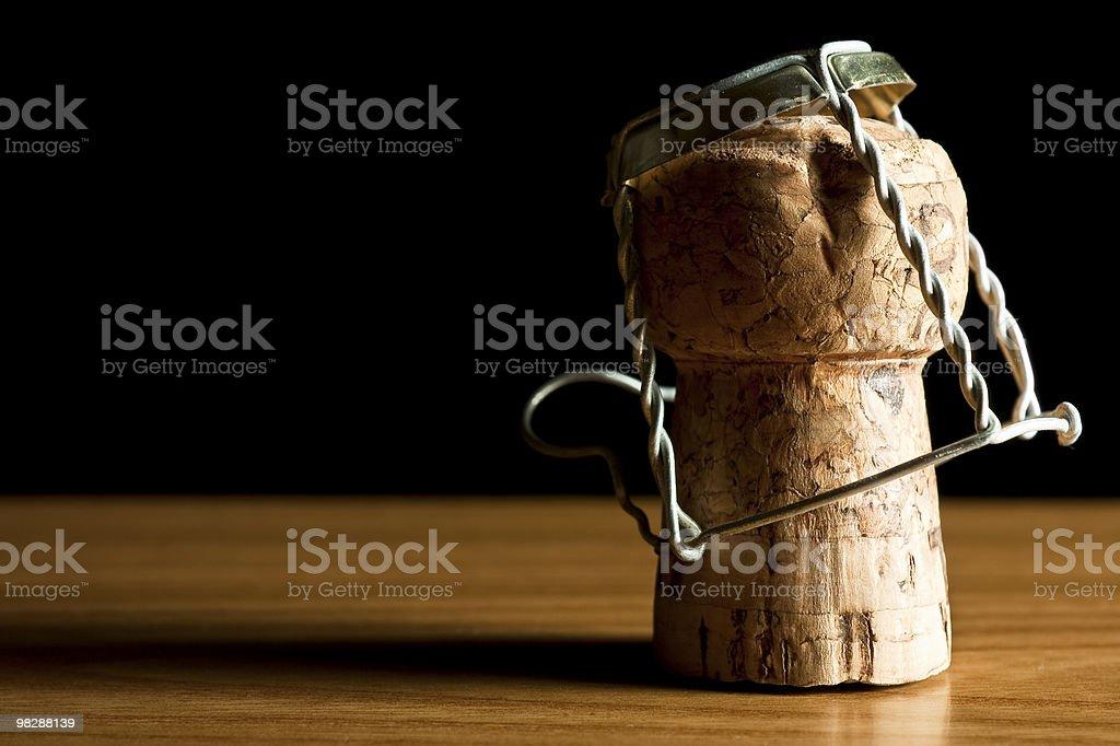 Sughero Tappo per bottiglia su legno foto stock royalty-free