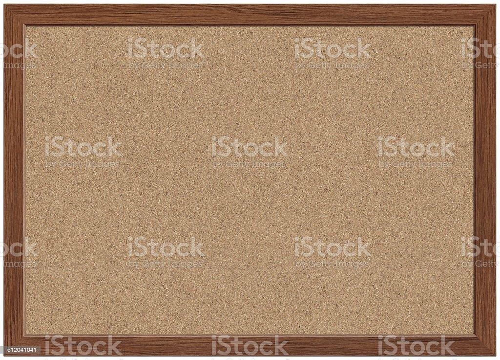 Cork Bulletin Board Blank cork bulletin board with wooden frame. Backgrounds Stock Photo