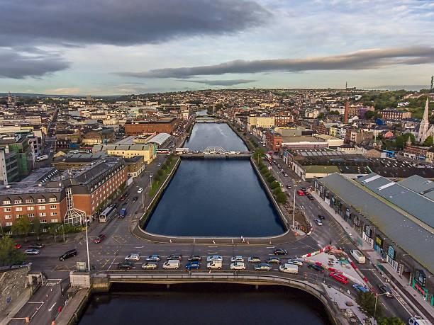 Cork city center in Ireland aerial view stock photo