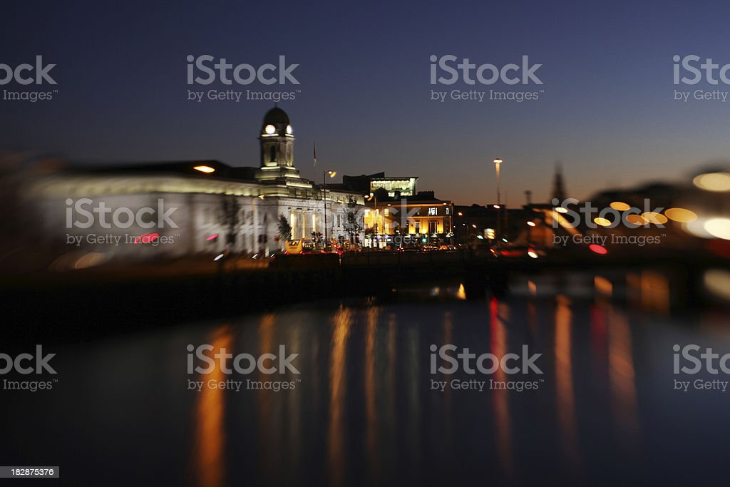 cork city evening stock photo