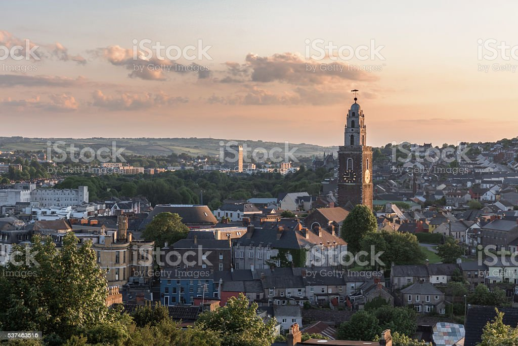 Cork City, Ireland at Sunset. stock photo