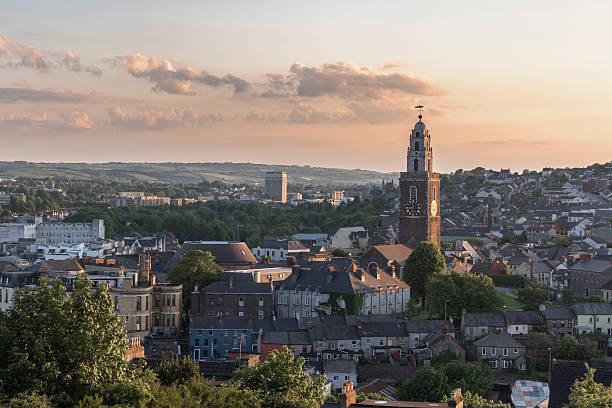 Cork City, Ireland at Sunset. stock photo