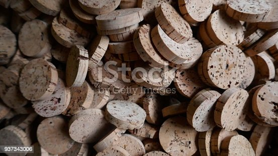 Many pieces ob bark from the cork oak tree. Ready for further  processing in a cork factory.