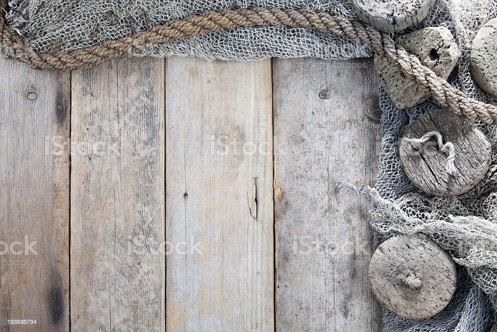 Cork, fishing net and rope stock photo