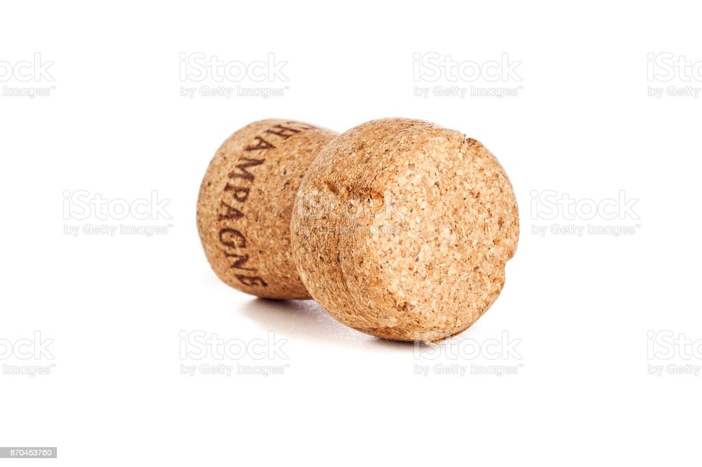 Cork from a bottle of sparkling wine type champagne on a white background isolated, happy new year and christmas, celebration stock photo