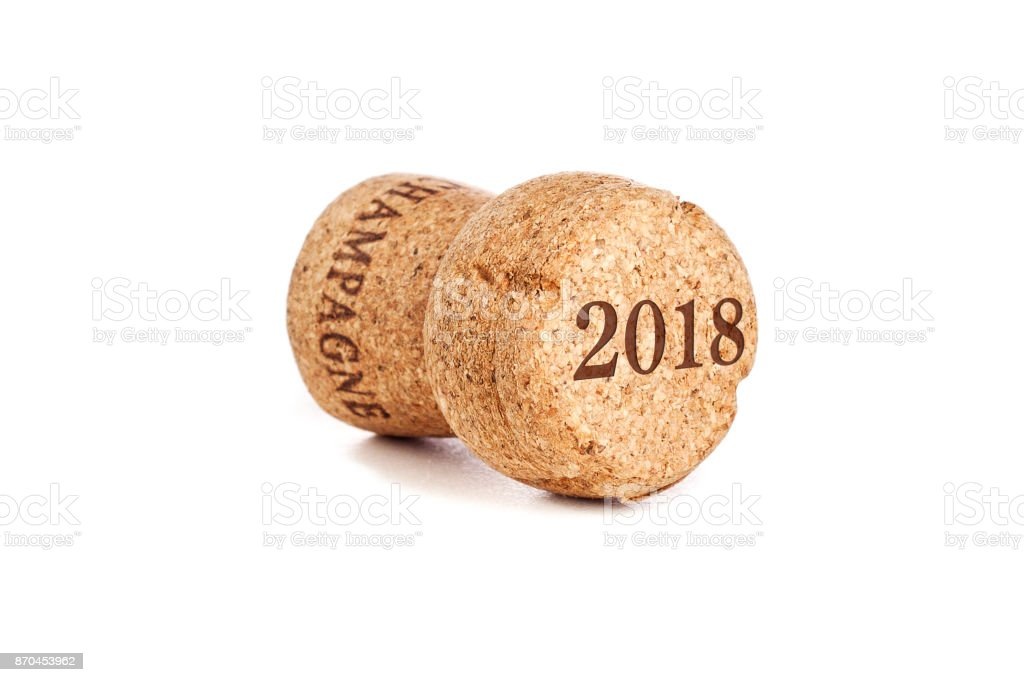 Cork from a bottle of sparkling wine type champagne on a white background isolated, happy new year and christmas, celebration 2018 stock photo