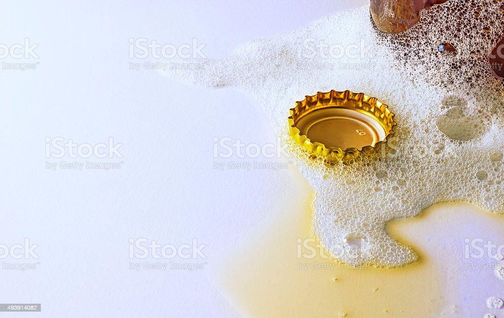 Cork in beer foam stock photo