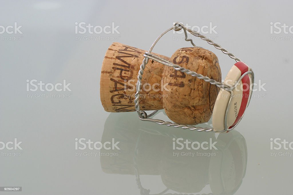 cork of champagne on glass royalty-free stock photo