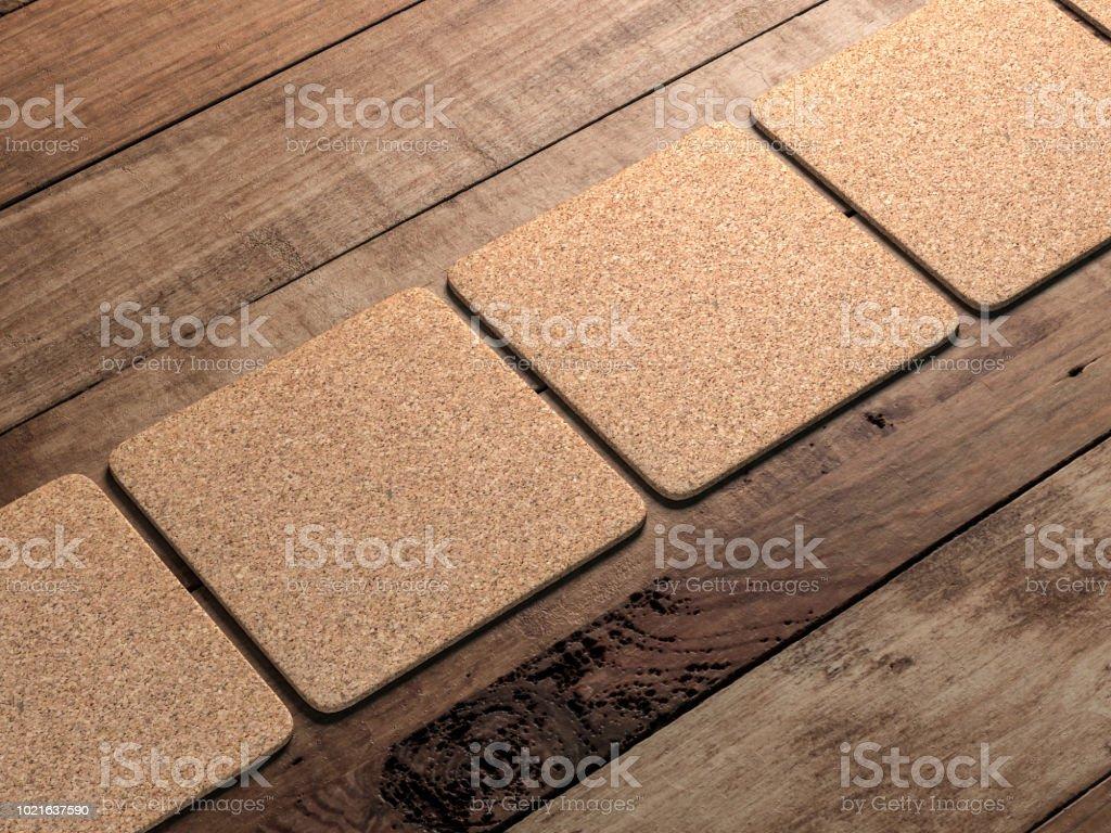 Kork Bremsbeläge Mock-up auf dem Holztisch – Foto