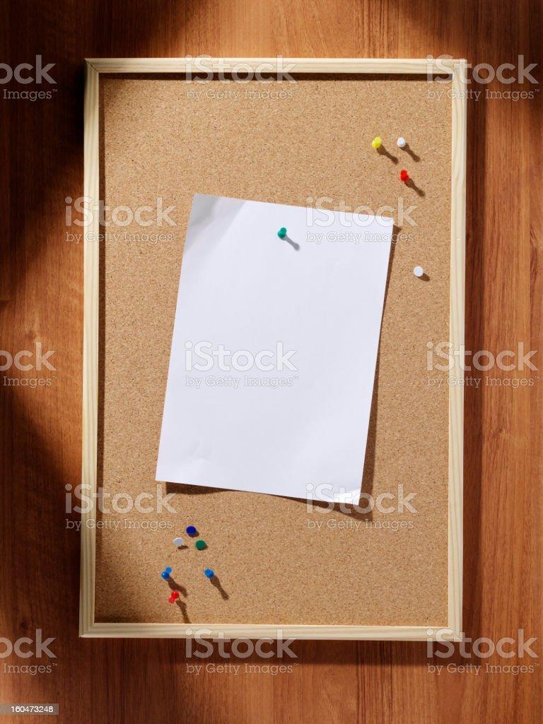 Cork Pin Board, Blank Paper royalty-free stock photo