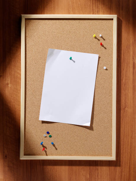cork pin board, blank paper - bulletin board stock pictures, royalty-free photos & images