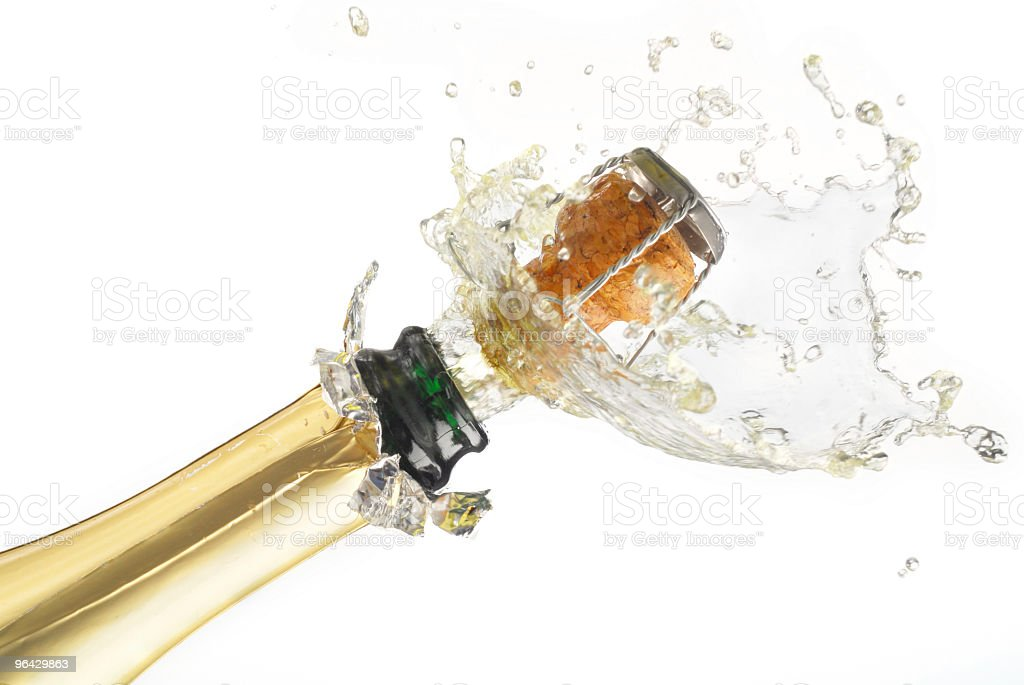 Cork popping out of champagne bottle on white background royalty-free stock photo