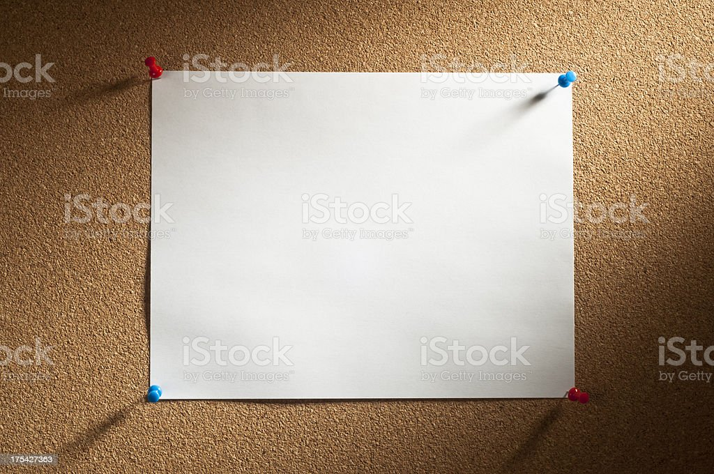 Cork with Blank Paper royalty-free stock photo