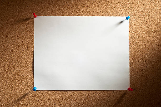 cork with blank paper - bulletin board stock pictures, royalty-free photos & images