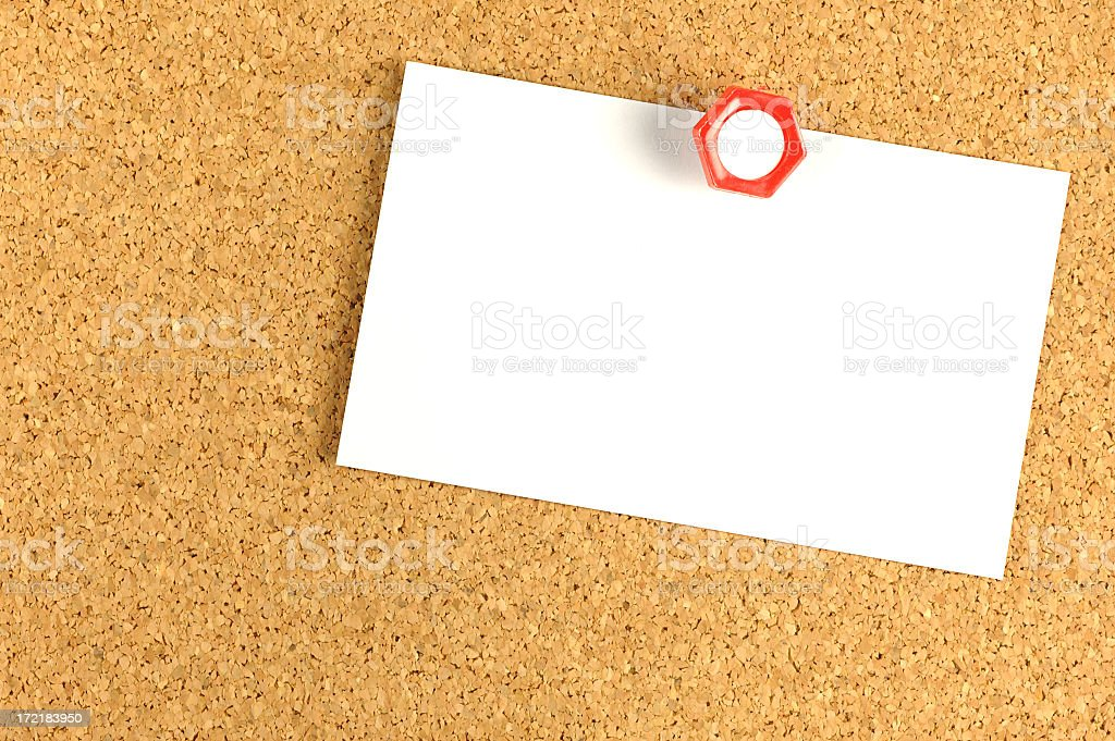 Corkboard with blank notice royalty-free stock photo