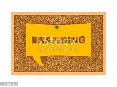1128981457 istock photo Corkboard with BRANDING Bubble Speech - 3D Rendering 1219221974