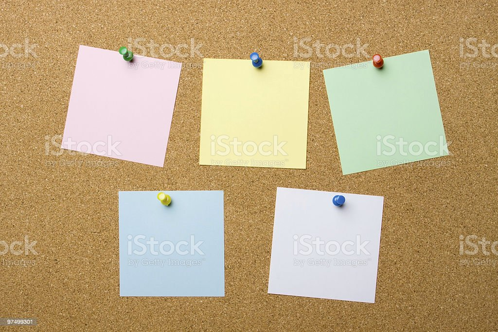 Corkboard with five blank notes royalty-free stock photo