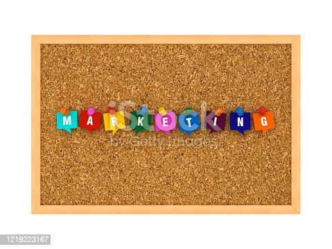 1128981457 istock photo Corkboard with MARKETING Bubbles Speech - 3D Rendering 1219223167