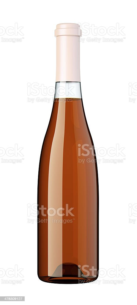 Corked bottle of white wine or brandy isolated royalty-free stock photo