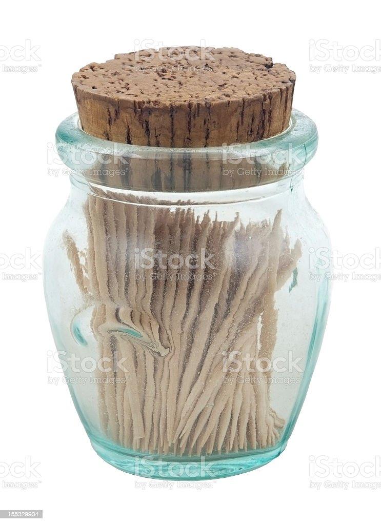 Corked Jar of Toothpicks stock photo
