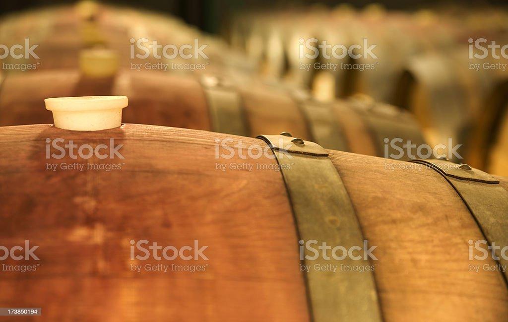 Corked oak wine barrels fermenting. royalty-free stock photo
