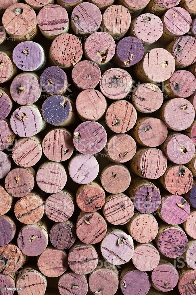 Corks colored by red wine (XXXL) royalty-free stock photo